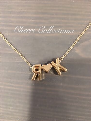 Personalized Necklace Custom Name 2 Initial Heart Couple Alp