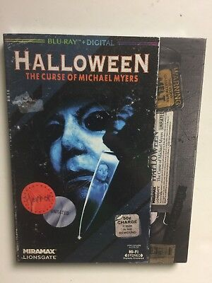 Halloween 6 The Curse of Michael Myers (Blu-ray, 2018) NEW w/VHS retro slipcover](Halloween Extended Version Blu Ray)