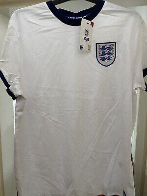 England Football Team Primark Large White Tee Shirt Top