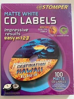 CD Stomper Matte White Labels Dual Use Full Face Or Standard Center 100 + Spine Full Face Matte Cd Label
