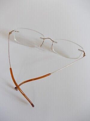 Rahmenlose Marken Brille Stepper 140 SI-4224 Gold mit Scharnier Steckbügel Titan