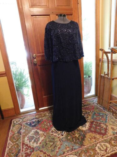 """BEAUTIFUL """"ALEX EVENINGS"""" NAVY JERSEY & LACE FORMAL/MOTHER FULL LENGTH GOWN S12"""