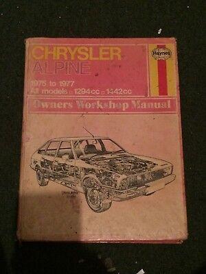 HAYNES WORKSHOP MANUAL 337 CHRYSLER ALPINE 1975 TO 1977 ALL MODELS 1294cc 1442cc