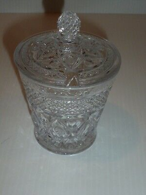 Imperial Glass Cape Cod Pattern Clear Condiment Jar with Lid