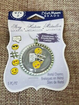 Blue Moon Beads Story Lockets Metal Charms - EMOJIS -  Set of 5 Pieces - NEW!