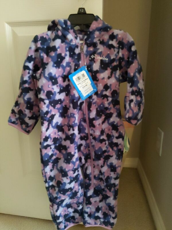 NWT $45 Columbia Fireside Cuddle Fleece Bunting Coverall girl 12-18M Baby