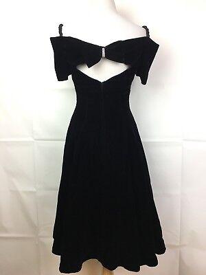 Vintage Small Black Velvet Off Shoulder Dress Back Bow Tulle Lined Prom A1006