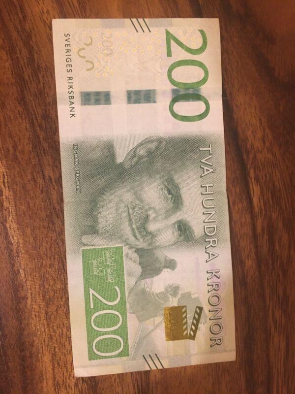 Sweden 200 Kronor Banknote. Swedish 200 Banknotes. Single Circulated Krona Bill.
