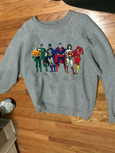 Justice League classic embroidered sweatshirt Large Batman Superman wonder woman