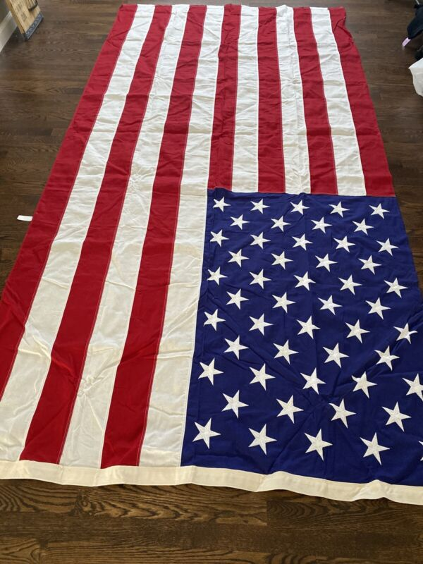 BEST  Valley Forge Flag American USA Cotton 50 Embroidered Stars 5 x 9 feet NICE