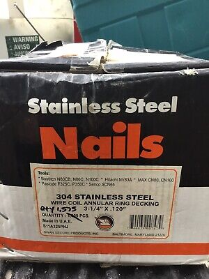 Stainless Steel Nails Wire Coil 304 Qty 1575 Meas 3 14 X .120