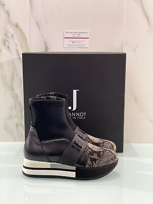 Jeannot Sneaker Woman High Wedges Peito Black Made in Italy 39