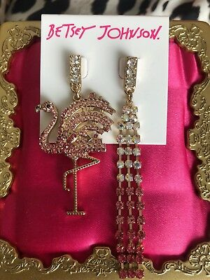 Betsey Johnson Gold Pink Flamingo Crystal AB Ocean Drive Mismatch Earrings $55