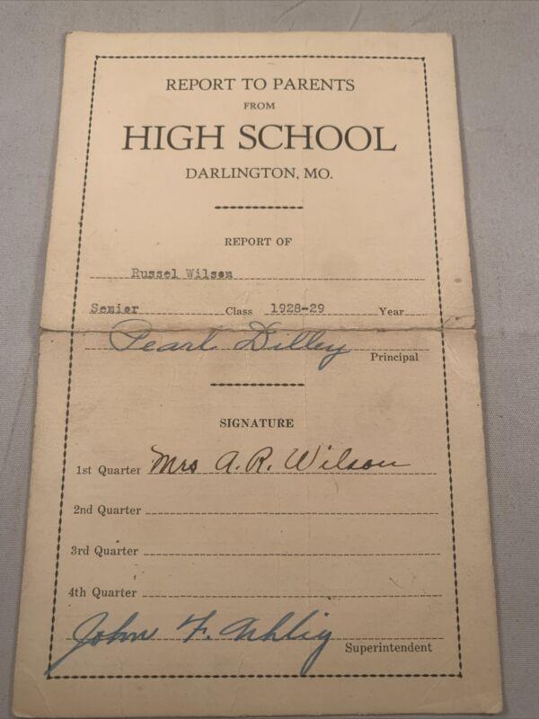 Darlington Missouri MO High School Report Card 1928 Russell Wilson