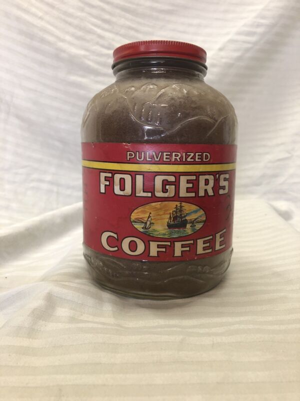 Vintage 1940S Pulverized Folgers Coffee Glass Jar With Coffee Inside. Never Used