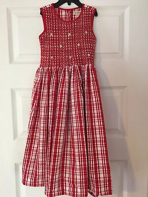 Copper Key Smocked Dress Red And White Plaid Girls Size 6