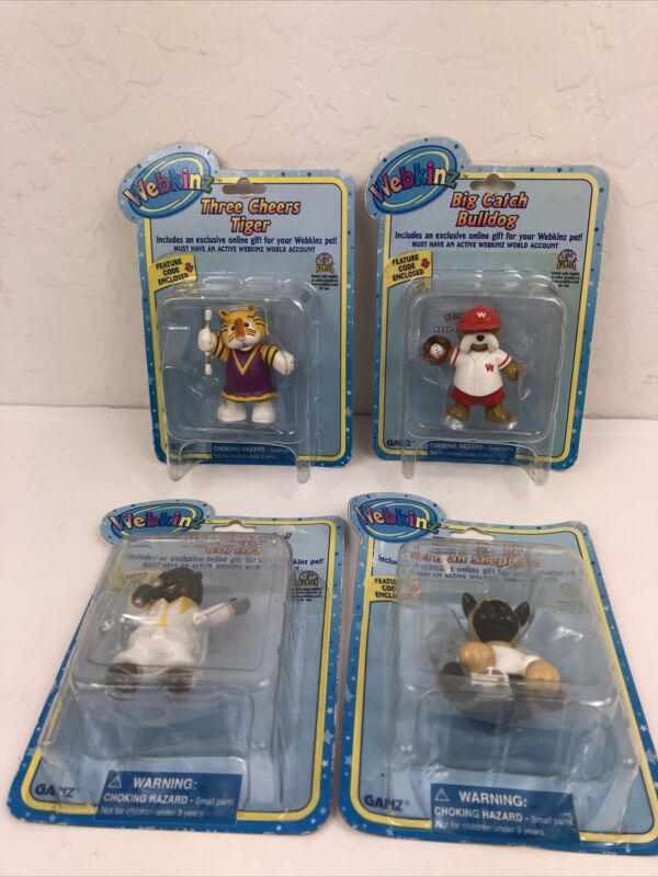 Lot of 4 New Ganz Webkinz Toy Figures With Codes New In Box Ships Free