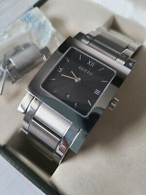 GUCCI Mens Watch 7900M.1 Black Square Face Stainless Steel - Water Resistant
