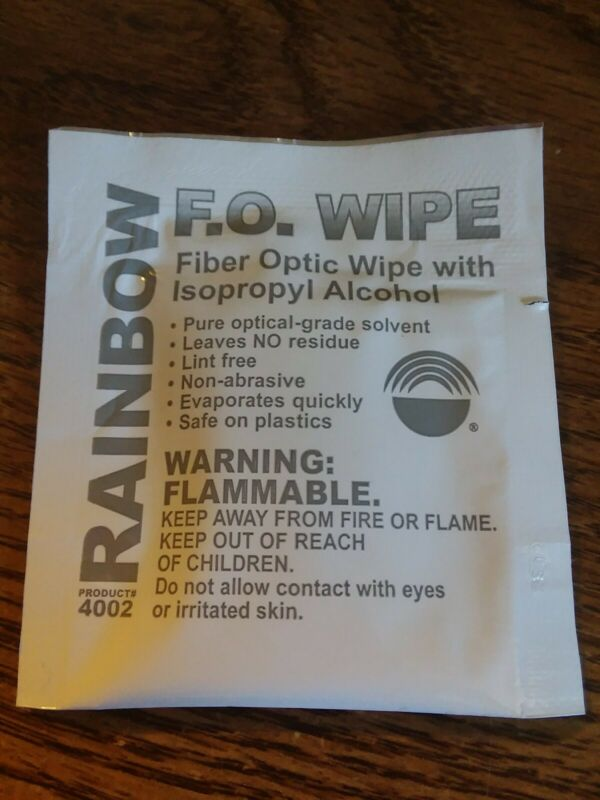 Lot of 25 Rainbow Fiber Optic Wipes with Isopropyl Alcohol Pads