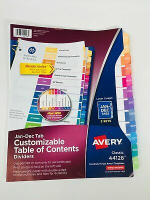 Avery Jan-dec Tab Dividers For 3 Ring Binder With Multi-color Tabs