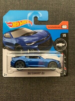 2017 Hot Wheels #360 Camaro Fifty 1/5 2017 CAMARO ZL1 Blue Short Card VHTF