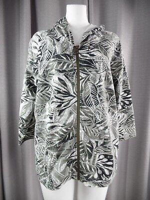 Chicos Weekends Womens 2 Gray Leaf Print Zip Front Hooded 3/4 Sleeve Jacket