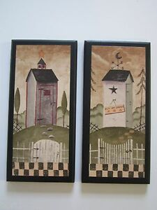 Outhouses 2 Rustic Lodge Bath Wall Decor Primitive Country Cabin Signs