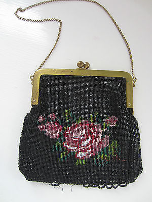 ANTIQUE VINTAGE BLACK BEADED PURSE FLORAL ROSE WITH BRASS HARDWARE