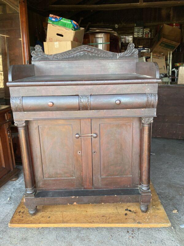 Rare 1830's Flame Mahogany Carved Empire Server Acanthus Rare Small Size