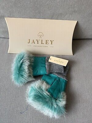 Jayley Collection Women's Leather Fur Trim Fingerless Gloves In Green