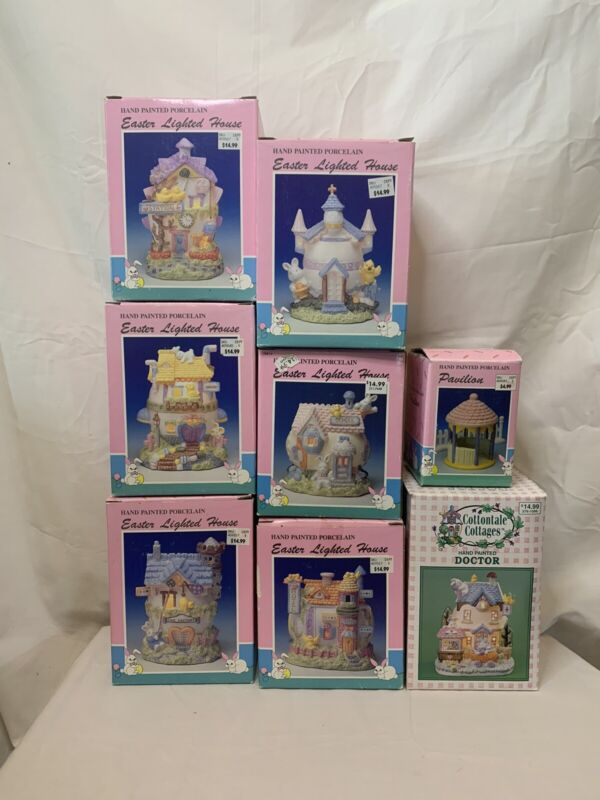 Lot Of 8 Hand Painted Porcelain Easter Lighted House Cottontale Cottages Working