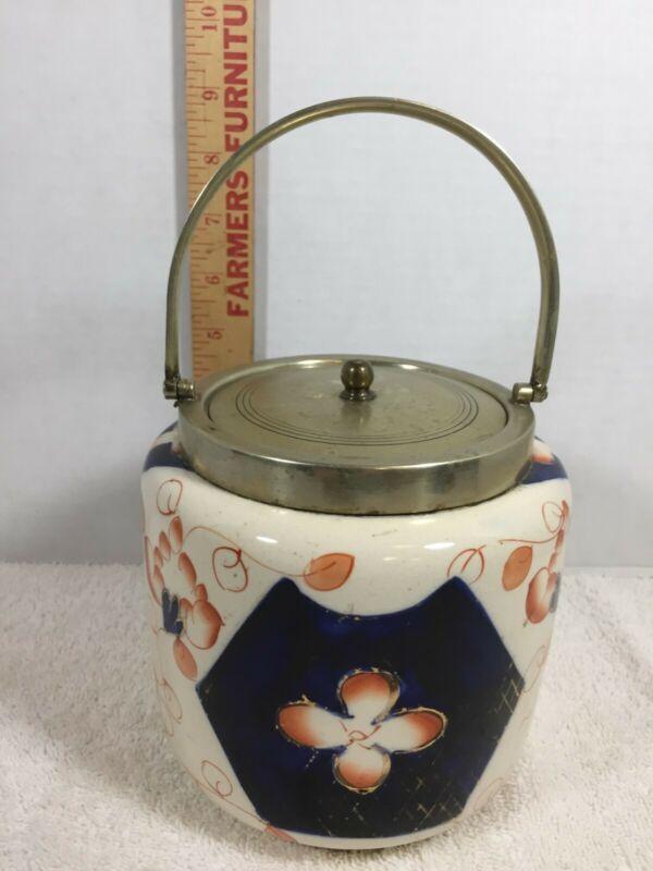 Vintage Ceramic English Biscuit Jar With Lid - EPNS