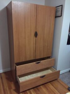 Clothes wardrobe with 2 dresser drawers