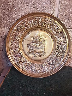 Vintage Victorian Brass Embossed Ship Galleon Scene Wall Plaque