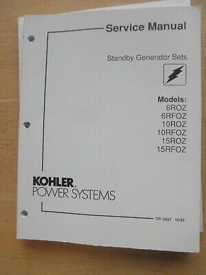 Kohler Service Manual Standby Gen Sets 6roz 6rfoz 10roz 10rfoz 15roz 15 Rfoz