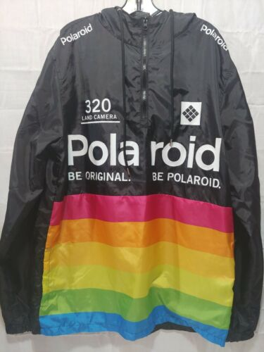 🔥🔥🔥Polaroid Windbreaker Be Original Hooded Jacket B