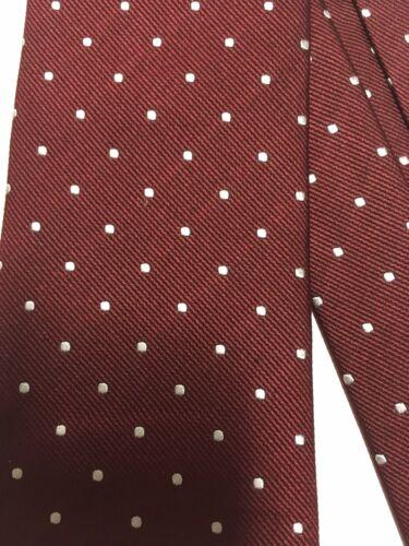 El ganso cravate soie bordeaux pois blanc - excellent État