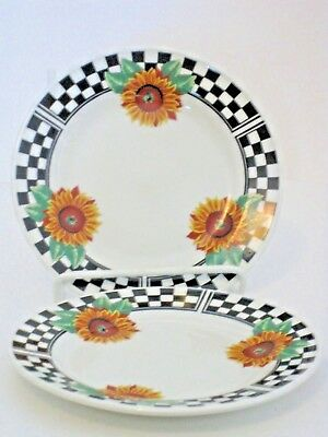 Sunny Tabletops Unlimited Salad Plates Black White Checked Dark Sunflowers 2Pc