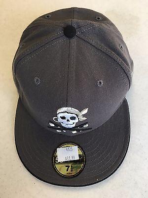 CUSTOM PIRATE GRAY RETRO NEW ERA 5950 FLAT BRIM FITTED HAT - Custom Pirate Hat