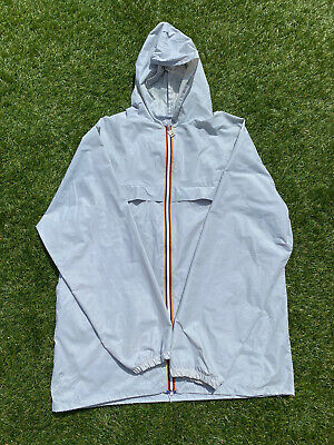 Vintage 1990s K-Way Light Grey Zip Up Waterproof Cagoule Size XL Made In France