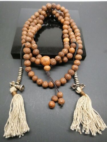 Vintage Natural Bodhi Seed 8mm Tibetan Meditation Prayer Japa Mala With Counters