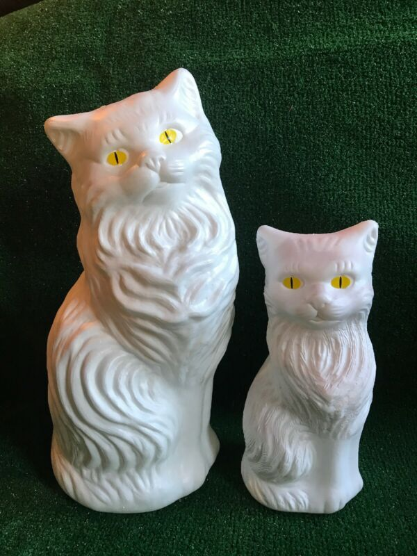 "Blow Mold White Cat Banks Decoration Yellow Eyes Union Product Pair 17"" And 11"""