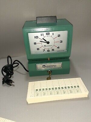 Acroprint Time Recorder Co. Time Clock Model 125nr4 With Keys Cards