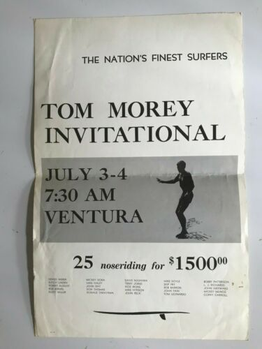 Rare Surfing poster - Tom Morey Invitational Noseriding Contest poster - 1965