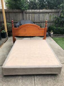 Queen Size Timber Bed Head with Mattress Base