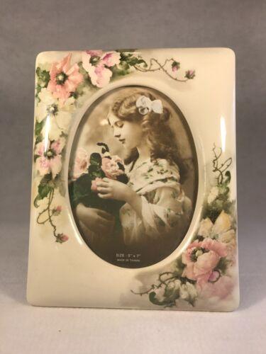 Ceramic Photo Frame Pink Poppy