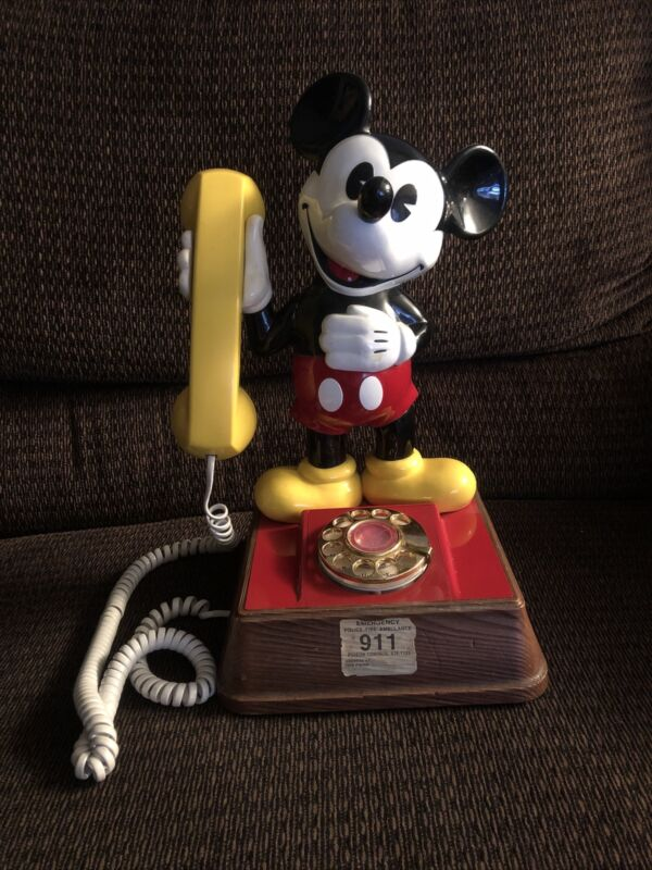 Vintage 1976 The Mickey Mouse Phone Landline Rotary Dial Telephone Walt Disney