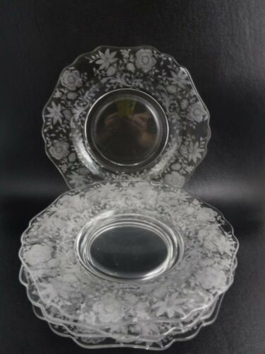 """5 Cambridge Glass Wildflower Etched  8.5"""" Luncheon or Salad Plates  (b5)"""