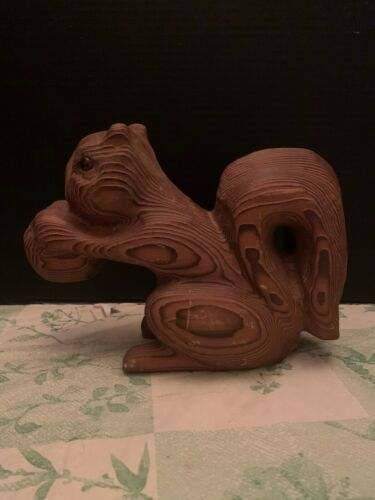 Vintage Clydel Originals Carved Wood California Redwood Squirrel Holding Nut