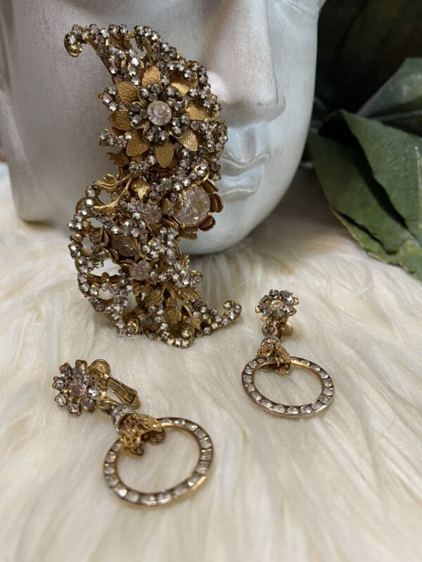 Miriam Haskell Huge Sparkly Elaborate Brooch And Earring Set!!! A1
